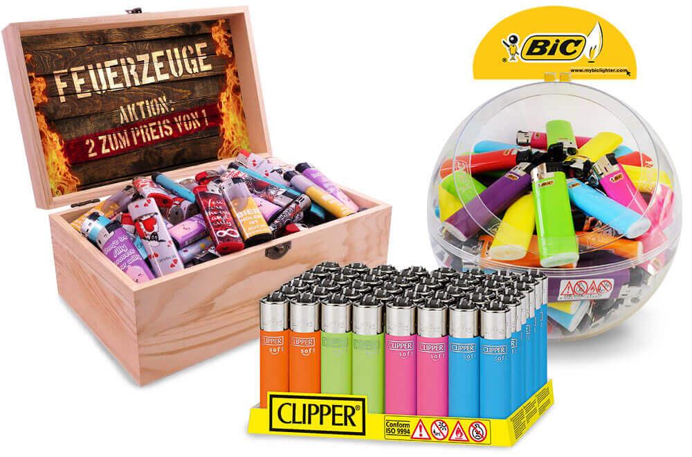 Elektronik Feuerzeuge, Clipper, BIC, Zippo, Reibrad Feuerzeug, Stabfeuerzeuge, Sturmfeuerzeuge für Wiederverkäufer