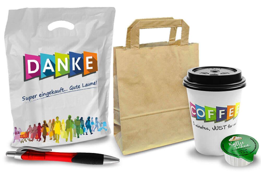 Verbrauchsartikel: Batterien, Tragetaschen, Papiertüten, coffee-to-go, Papier-Falten-Beutel für Wiederverkäufer